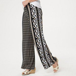 Susan Graver  Printed Liquid Knit Wide-Leg Pants